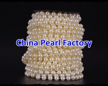 Cheap Shipping 5/10Meters Ivory Pearl Garland Beads 8mm For Pearl Wedding Decor,Fused Pearl String Beads on a Spool