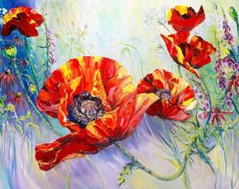 Flowers Prints Wall Art, Poppy Art Print, Flowers Art, Wall Decor Flowers, Home Decor Art Prints, Valentine's Day Gift for Her, Wedding Gift