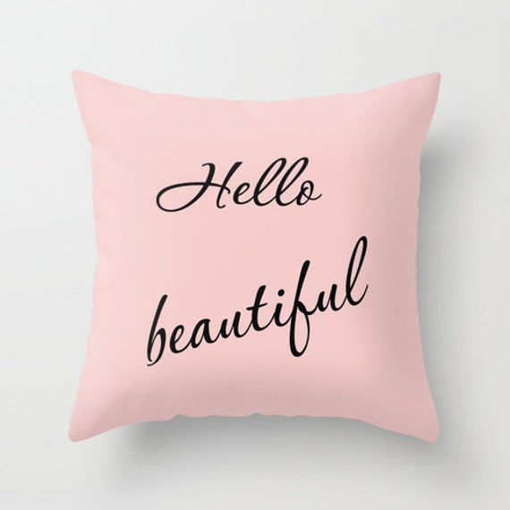 Hello Beautiful Decorative Pillow : Hello beautiful pillow typography pillow by HappyRainbowPrints