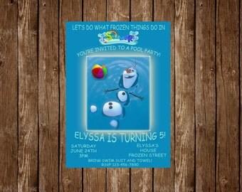 Olaf Summer Pool Birthday Party Invitation