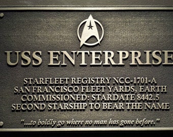 Star Trek USS Enterprise Dedication plaque replica