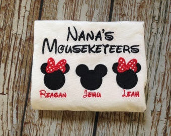 Custom embroidered personalized Grandma shirt (3 names and images)