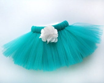 Teal Dog Tutu with White Flower - Made with Soft Tulle - Turquoise Pet Costume