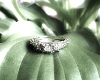 3 CZ(cubic zirconia) Stone Sterling Silver Ring