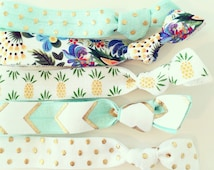 Tropical Pineapple Hair Tie Set   Aqua, White + Gold Pineapple Creaseless Elastic Hair Ties, Boho Hair Tie Bracelets, Summer Luau Vacation