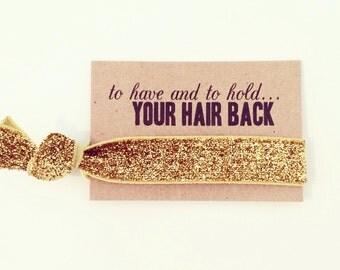 Bachelorette Party Favor | Gold Glitter Bachelorette Hair Tie Favors, Gold Glitter Sparkle Hair Tie Favor, Gold Bachelorette Hair Tie Favor