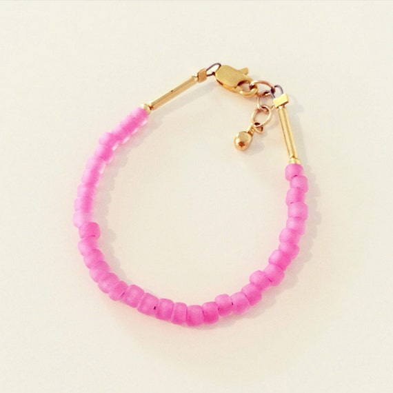 Bubblegum Pink Stacking Bracelet | Pink Seed Bead Bracelet, Beaded Stacking Bracelets for Baby Toddlers Girls Adults, Mommy and Me Bracelets