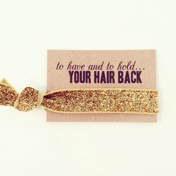 Gold Glitter Bachelorette Party Favors | Gold Glitter Hair Tie Favors, Gold Glitter Hair Tie Bridesmaid Gift, Gold Bachelorette Party Favors