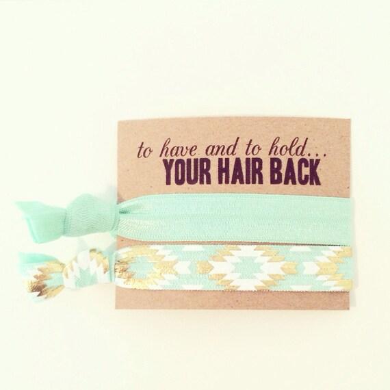 Mint Hair Tie Bachelorette Favor | Mint + Gold Tribal Hair Tie Favors, Boho Bachelorette Party Hair Tie Favors, Bridesmaid Gift Hair Ties