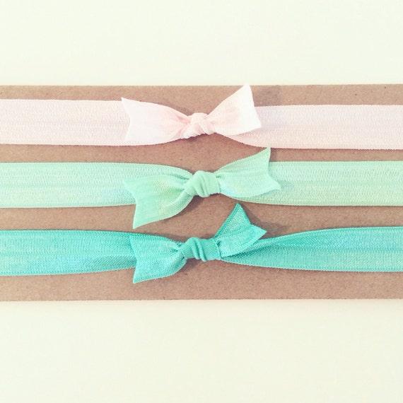 Mint Julep Knot Bow Headband Set   Elastic Knot Bow Headbands for Baby Toddler Girls, Baby Shower Gift, Baby Girl Gift, Newborn Headbands