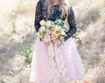 IVORY Alternative bridal tulle ruffle skirt for brides designed for beach weddings, garden weddings, and engagement shoots, and galas.