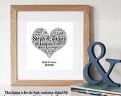 PERSONALISED 10 Year Anniversary Gift - Personalised Gift - Printable Art - Custom Word art - Unique Gift - 10th Anniversary Gift