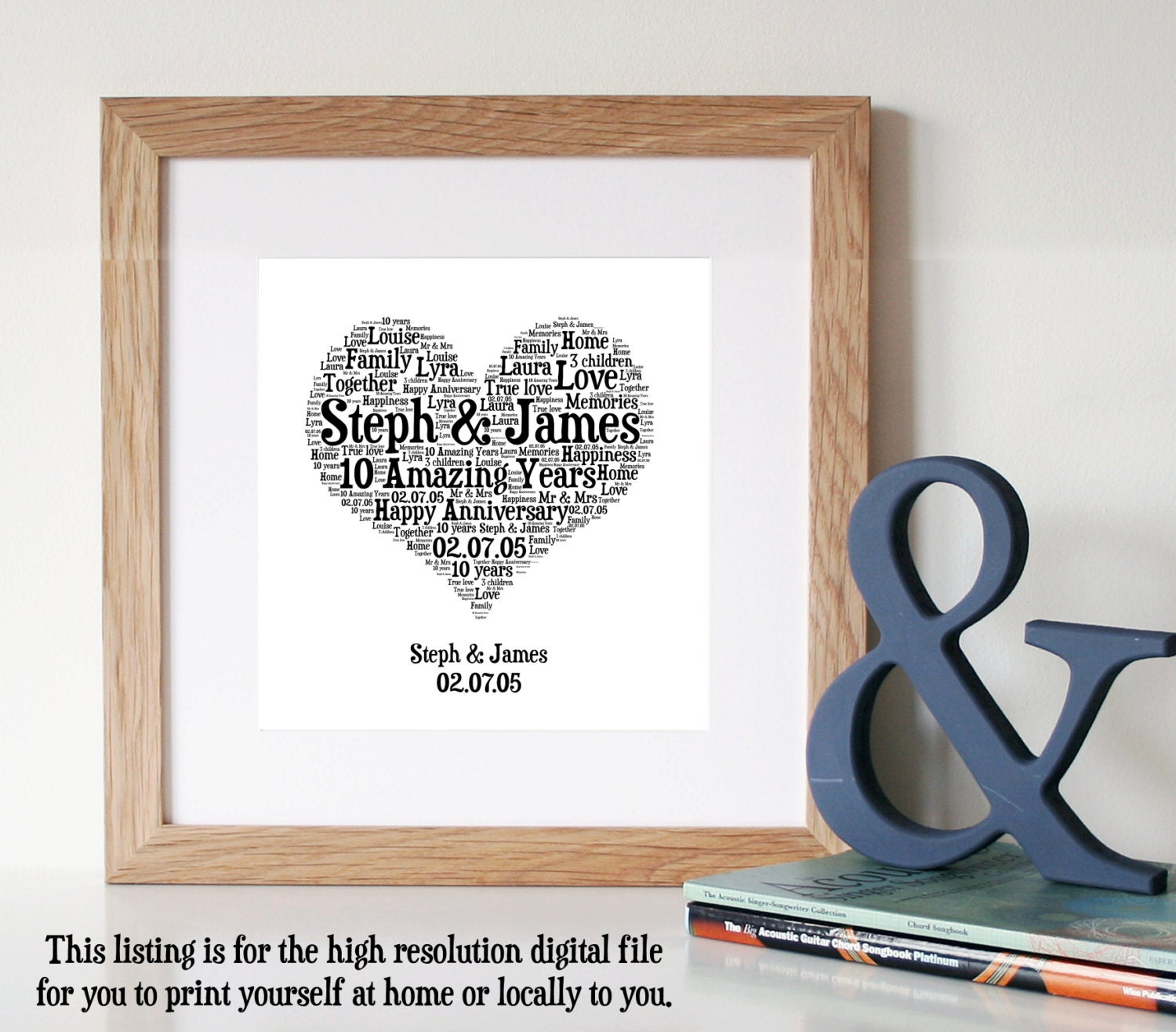 Ideas 10th Wedding Anniversary Gifts Men 10 year anniversary etsy personalised 10th gift word art printable unique card for couple