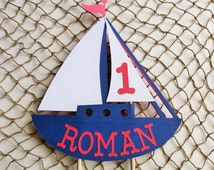 Personalized Sailboat Cake Topper, Nautical Theme Birthday
