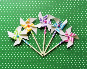 12 Chevron Pinwheel Cupcake Toppers with Mini Pom-Poms