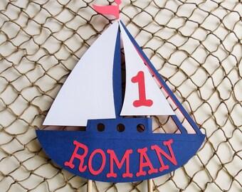 Personalized Sailboat Cake Topper, Nautical Theme Birthday