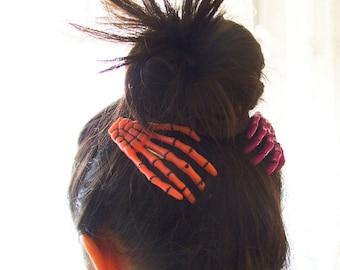 Creepy Skeleton Hands Hair Clips, Halloween Hair Accessory, Cute Skeleton Hair Pins, Set of 1