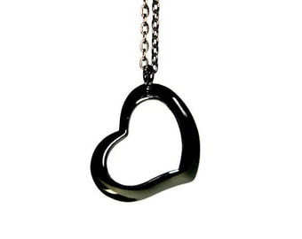 L'Amour Necklace, Heart Necklace, Black Necklace, Black Heart, Charm Necklace