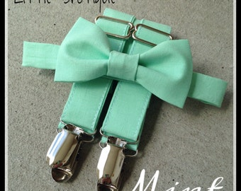 Mint Bow Tie and Suspender Set for Babies, toddlers, boys, and men. Sent 3-5 business days after you order.