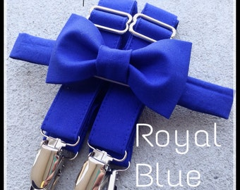 Royal Blue/ Horizon Bow Tie and Suspender Set for men, boys, toddlers, and babies. Sent 3-5 business days after you order