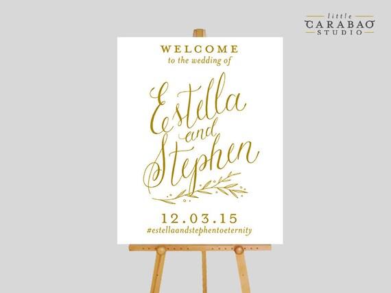 Digital wedding welcome sign calligraphy printable