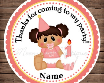 Birthday Girl 1 Personalized Stickers Personalized Stickers, Party Favor Tags Thank You Tags, Gift Tags, Birthday Stickers, Baby Shower