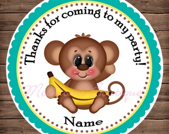 Monkey Gone Bananas 4 Personalized Stickers, Party Favor Tags, Thank You Tags, Gift Tags, Birthday Stickers, Baby Shower
