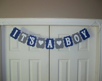 IT'S A BOY Baby Shower Banner - Heart - Navy Blue, Medium Grey, White - Card Stock Paper Sign - Wall Decoration