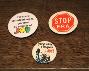 """Vintage Button Pins NYC Statue of Liberty """"you've come a long way lady"""", """"For every minute of anger you lose 60 seconds of JOY, STOP"""
