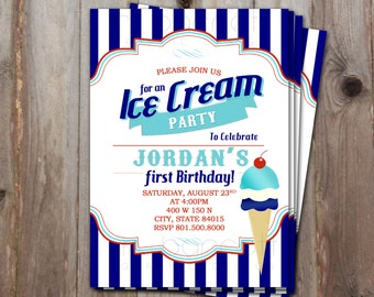 Blue and Red Ice Cream Invitation!