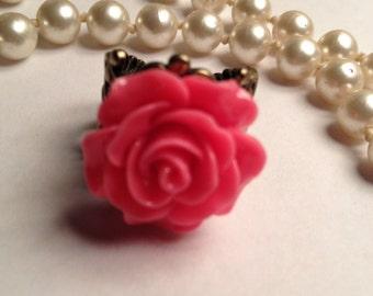 Beautiful Pink Rose Filigree Ring