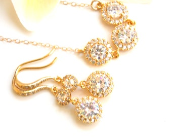 Wedding Jewelry Set, Gold, Earrings and Necklace Set, Cubic Zirconia, Bride Pendant Set, Bridesmaid Earrings, Dangle, Long,Bridesmaids Gifts
