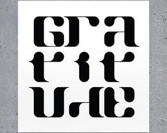 Gratitude - Typography Print