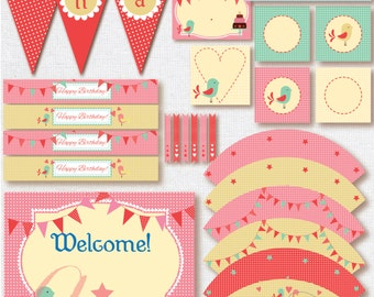 Printable birthday kit .Editable Birthday printables. Girl party printables. INSTANT DOWNLOAD girl printables. Printable party