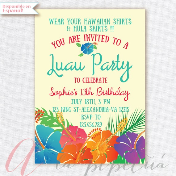 Luau invitation birthday party hawaiian party invitation like this item stopboris Gallery