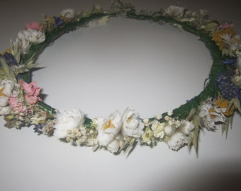 Beautiful Bespoke Handmade Floral Crown.  Flower Garland, Wedding Hair Piece, Bride, Bridesmaid, Flowergirl, Halo, Circlet, Comb, Vintage