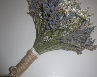 Bridesmaid Posy, bespoke Dried Flower Wedding Bouquet. Made to any design. Rustic Country Lavender, Flowergirl