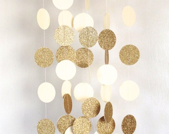 Ivory and Gold Garland, Paper Garland, Bridal Shower Garland, Baby Shower Garland, Birthday Party Garland, Party Decor