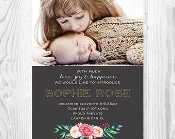 Baby Announcement - Natural Floral Modern Design - Personalised Printable Digital File - Chalkboard