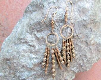 Brass and Seed Bead Fringe Boho Earrings, Ethnic Rustic Earthy Beaded Tassel Earrings, Bronze Brown Tan Antique Brass Beaded Earrings