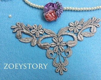 Silver Gray Lace Applique, Venise Grey Appliqued Lace, Lace Jewelry Material, Sell By Piece