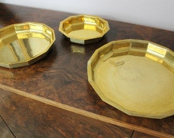 Set of 3 solid brass trays
