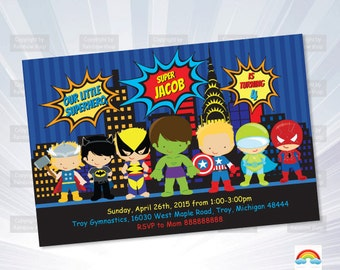 Super hero invitation - birthday Invitation