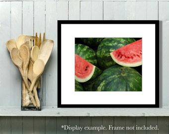 Food Photography, Watermelon, Kitchen Art, Kitchen Decor, Summer, Fruit, Garden, Market, Wall Art, Home Decor, red, green