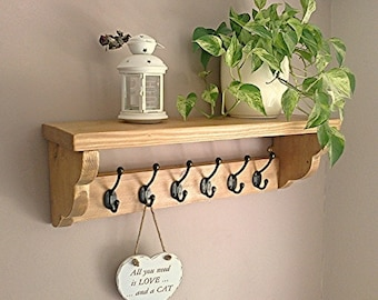 Coat Hooks, Coat Rack, Coat Stand with Shelf - Handcrafted - Pine, Oak, Whites ** FREE UK DELIVERY **