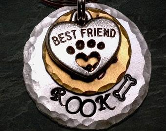 Dog Tag, Pet ID Tag, Pet Tag, Aluminum, Hand Stamped, Id Tag, Personalized, Collar Tag, Dog ID Tag, Hammered, Cat ID Tag, Bronze Pet Tag