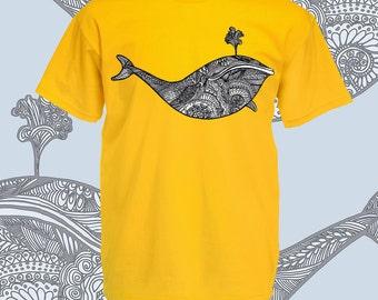 Whale shirt. Whale t shirt. Intricate line art tribal style whale tshirt. Black white geometric design on yellow graphic tee. Ocean animals