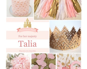 Pink & Gold Princess Theme -- Party Inspiration Board, Ebook, PDF