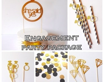 Engagement party package, diamond cake topper,cup cake toppers, straws, confetti, diamond party. Complete package