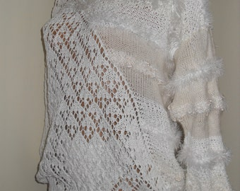 white knitted sweater summer size S-M